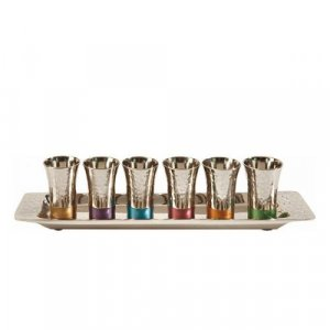 Yair Emanuel Six Hammered Nickel Kiddush Cups and Tray - Multicolor
