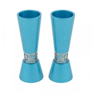 Yair Emanuel Cone Shaped Candlesticks with Silver Pomegranate Band - Teal