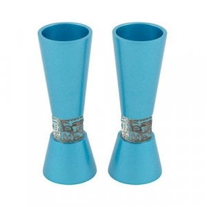 Yair Emanuel Cone Shaped Candlesticks with Silver Jerusalem Band - Turquoise
