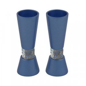 Yair Emanuel Cone Shaped Candlesticks with Silver Jerusalem Band - Blue