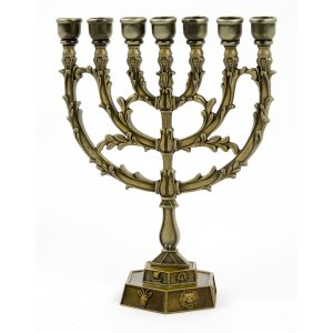Leaf 7 Branch Menorah in Copper with Twelve Tribes on Base