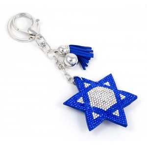 Puffy Felt Keychain with Tassel - Blue Star of David