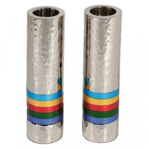 Yair Emanuel Hammered Nickel Cylinder Candlesticks - Multicolor Bands