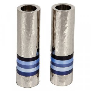 Yair Emanuel Hammered Nickel Cylinder Candlesticks - Blue Bands