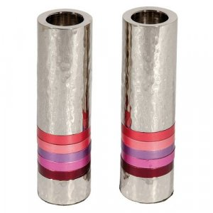 Yair Emanuel Hammered Nickel Cylinder Candlesticks - Pink Bands