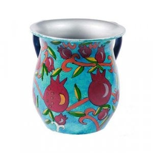 Yair Emanuel Hand Painted Metal Netilat Yadayim Wash Cup - Pomegranates