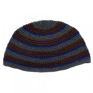 Frik Kippah in Brown, Blue and Gray Stripes