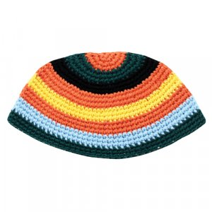 Orange, Yellow and Green Striped Frik Kippah