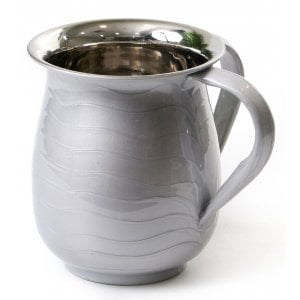 Stainless Steel Netilat Yadayim Wash Cup, Wave Design - Silver