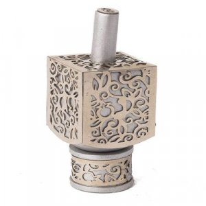 Yair Emanuel Hanukkah Dreidel and Stand, Cutout Pomegranates - Silver on Silver