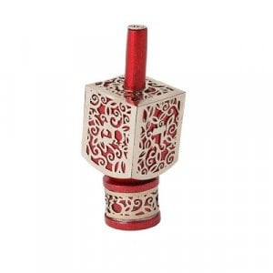 Yair Emanuel Hanukkah Dreidel on Stand, Cutout Pomegranates - Silver on Red
