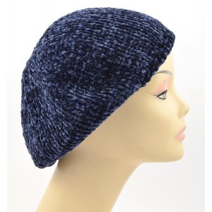 Knitted Women's Snood Beret with Inner Elastic Drawstring - Blue