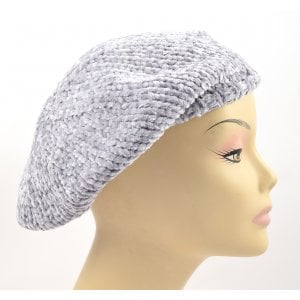 Knitted Women's Snood Beret with Inner Elastic Drawstring - Gray