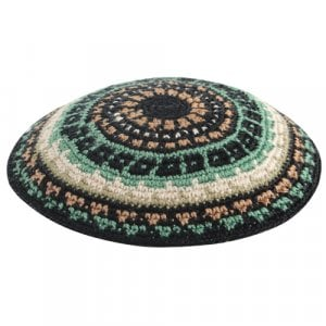 Green and Beige DMC Knitted Kippah