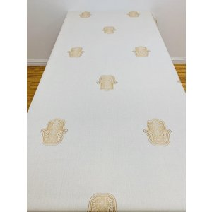 Linen Cotton Blend Ivory Tablecloth with Gold Hamsas