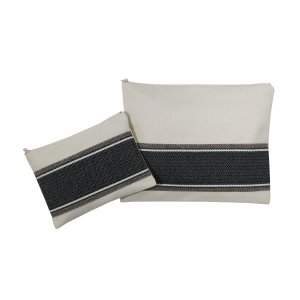 Ronit Gur Tallit and Tefillin Bags Set, Gray Herringbone Stitch on Off-White