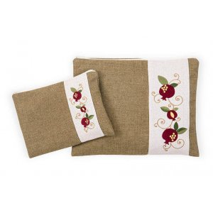 Ronit Gur Tallit and Tefillin Bags Set, Embroidered Red Pomegranates on Green