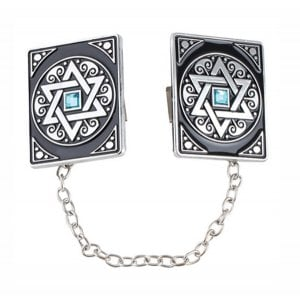 aJudaica Magen David Tallit Clips with Blue Stone