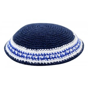 Blue Knitted Kippah with Blue and White Stripes