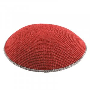 Red Flat DMC Knitted Kippah with Gray Border