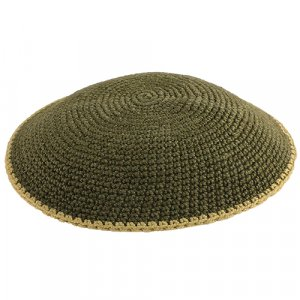 Olive Flat DMC Knitted Kippah with Beige Border