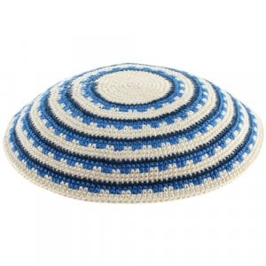 Blue Stripes and Geometric DMC Knitted Kippah with White Background