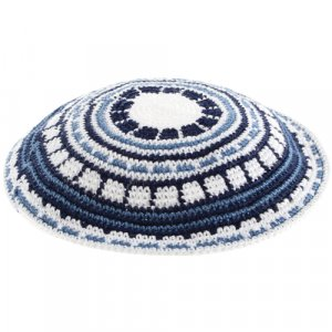 DMC Knitted Kippah with Blue and White Design