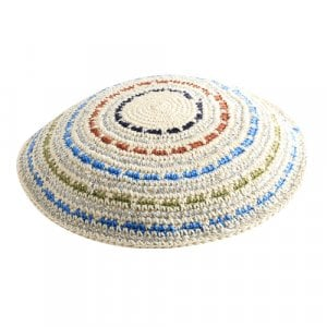 DMC Knitted Kippah with Blue, Green and Brown Thin Stripes