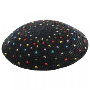 Black DMC Knitted Kippah with Multicolor Dots