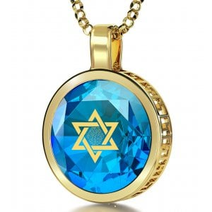 Nano Jewelry Gold Plated Round Star of David Jewelry with Song of Ascents - Blue
