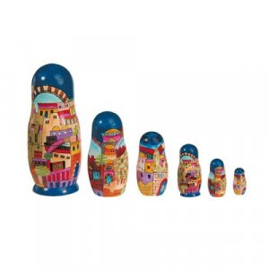 Yair Emanuel Hand Painted Wood Babushka Set of Six Nesting Dolls - Colorful