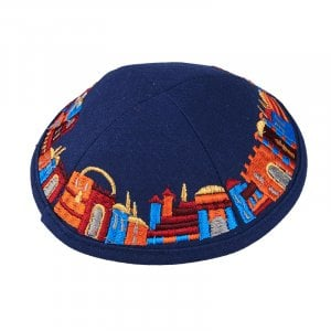Blue Cloth Kippah with Attached Clip and Colorful Embroidered Jerusalem Design