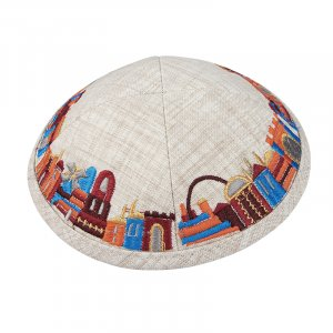 Beige Cloth Kippah with Attached Clip and Colorful Embroidered Jerusalem Design