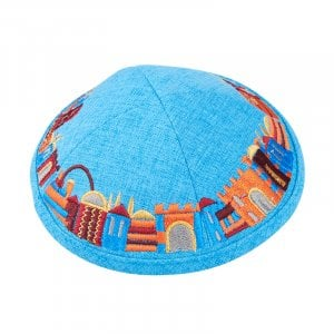 Turquoise Cloth Kippah with Attached Clip and Colorful Embroidered Jerusalem Design