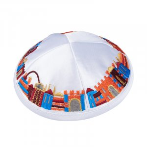 White Satiny Kippah with Attached Clip and Colorful Embroidered Jerusalem Design