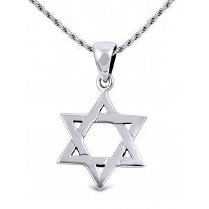 Star of David Necklace for Women in 925 Sterling Silver with Rope Chain