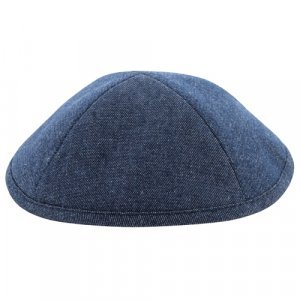 Blue Denim Look Linen Kippah