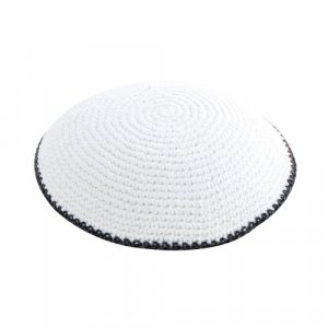 White with Gray Border Knitted Kippah