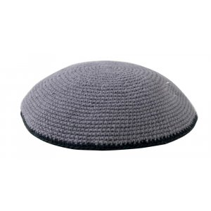 Gray with Black Border Knitted Kippah