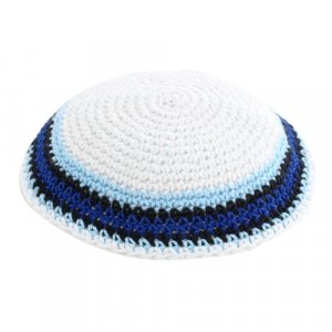 White Knitted Kippah with Light and Dark Blue Border Stripes