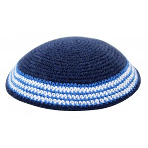 Blue Knitted Kippah with Blue, Light Blue and White Border Design