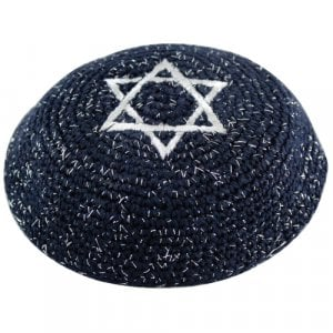 Blue Knitted Kippah with Silver Star of David