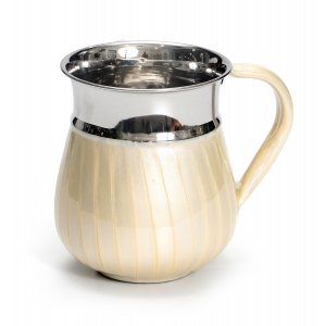 Stainless Steel Wash Cup with Beige Enamel