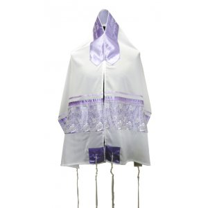 Ronit Gur Purple-White Organza Tallit Prayer Shawl Set With Bag and Kippah