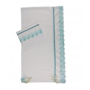 Ronit Gur White with Aqua Flowers Organza Tallit Prayer Shawl Set With Bag and Kippah