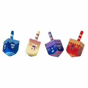 Colorful Wood Dreidel with Lively Design - Nes Gadol Haya Sham