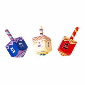 Colorful Wood Dreidel with Lively Design - Nes Gadol Haya Poh