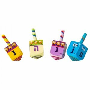 Large Emoji Design Colorful Wood Dreidel - Nes Gadol Haya Poh