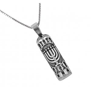 Sterling Silver Necklace with Mezuzah Pendant - Menorah Design