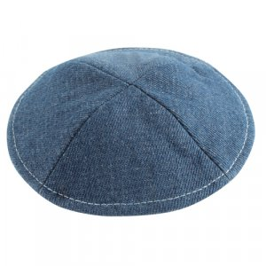 Denim Style Kippah with Pin Spot